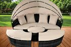 Luxury Rattan Sun Island Outdoor Garden Furniture Day Bed  Sofa Lounger Canopy
