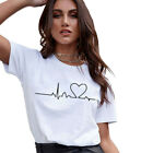 Fashion Women Ladies Short Sleeve T Shirt Tops Blouse Heart Printed Casual Tee N