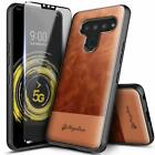 For LG K51 / LG Reflect Case Leather Phone Cover With Tempered Glass Protector