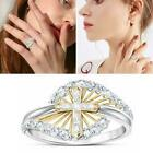 Women Fashion White Sapphire Ring Elegant Cross Two Silver Rings Color Tone T5b4