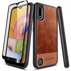 For Samsung Galaxy A01 Case, Shockproof Leather Cover + Tempered Glass Protector