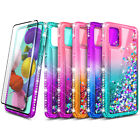 For Samsung Galaxy A71 5g Case, Liquid Glitter Phone Cover With Screen Protector
