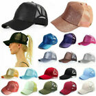 Glitter Ponytail Baseball Caps Women Messy Bun Adjustable Snapback Hip Hop Hat