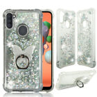 For Samsung Galaxy A11, Liquid Glitter Bling Clear Protective Case Ring Stand