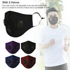 Reusable Outdoor 3 Valves Fog Dust Mask Face Mouth Cover Masks With PM2.5 Filter