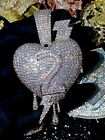 Mens Ice Out Famous Heart Number 2 Big Charm Pendant For Upto 20MM Cuban Chain