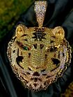 Mens Ice Out Famous Bengal Tiger Big Charm Pendant For Upto 20MM Cuban Chain ICY