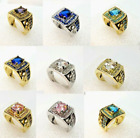 Men's Square 14mm Yellow Or White Gold Filled Rings - Choose From 5 Stone Colors