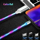 LED Flowing Light Up 360 Rotate Magnetic Fast Charger Cable For Micro-USB iPhone