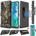 For Motorola Moto Edge+ Plus Phone Case Cover with Belt Clip + Screen Protector