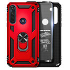For Motorola Moto G Fast Case Ring Stand Phone Cover + Tempered Glass Protector