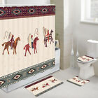 Aztec hunting ritual Shower Curtain Toilet Cover Rug Mat Contour Rug Set