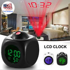 LED Digital Projection Alarm Clock Time Temperature LCD Display Voice Talking