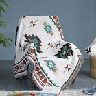 Fringed Quilt Throw Blanket Cotton Bed Couch Cover Area Rug Wall Hanging Decor