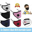 5 Pack Kids Reusable Face Mask With Air Breathing Valve And Pm2.5 Carbon Filter