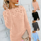 Womens Winter Warm Fluffy Long Sleeve Floral Sweater Jumper Pullover Tops Blouse