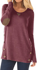 Womens Casual Long Sleeve Faux Suede Loose Tunic Pullover Button Blouses Tops