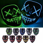 """Halloween Clubbing Light Up """"Stitches"""" LED Mask Costume Rave Cosplay Party Purge"""