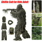 Adults Child 5 in 1 Ghillie Suit 3D Camouflage Apparel Woodland Jungle Hunting