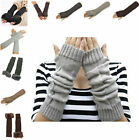 Winter Warm Long Gloves Stretchy Finger Less Knitted Arm Warmer For Women Girls