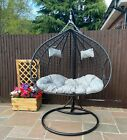 Hanging Egg Chair Cocoon With Cushion Rattan Style Double Single White Black New