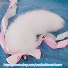 """16"""" Real White Fox Fur Tail Plug Funny Adult Sweet Games Cosplay Toys Pendant"""