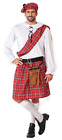 Mens Red Tartan Scottish Burns Night National Dress Fancy Dress Costume XS-XL