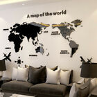 3d Home Decor Acrylic World Map Smooth Solid Crystal Wall Sticker Office Decor