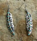 Woman's Retro Turquoise Feather Silver Plated Earrings