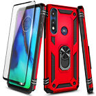 For Motorola Moto E 2020 Case, Ring Stand Phone Cover + Tempered Glass Protector