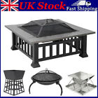 Square Round Fire Pit BBQ Grill Outdoor Garden Party Brazier Stove Patio Heater
