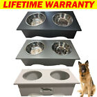 Luxury Dog/Pet/Cat Food Feeding Stand Station Stainless Double Raised Bowls Wood