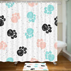 Colored Dog Paw Prints Shower Curtain Bathroom Decor Fabric 12hooks 71in
