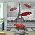 Red Umbrella And Eiffel Tower Shower Curtain Bathroom Decor Fabric 12hooks 71in