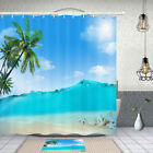 Blue Coconut Beach Shower Curtain Bathroom Decor Fabric 12hooks 71in