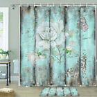 Rose Flower On Vintage Wooden Board Shower Curtain Bathroom Decor Fabric 12hooks