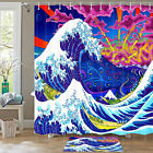 Kanagawa Waves And Volcanoes Shower Curtain Bathroom Decor Fabric 12hooks 71in