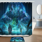 Sailing Boat And World Tree Shower Curtain Bathroom Decor Fabric 12hooks 71in