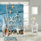 Seashell, Fishing Net Starfish Shower Curtain Bathroom Decor Fabric 12hooks 71in