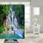 Tropical Forest Waterfall Shower Curtain Bathroom Decor Fabric 12hooks 71in