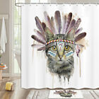 Cat With Feathers Shower Curtain Bathroom Decor Fabric 12hooks 71in