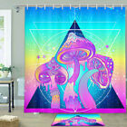 Triangle And Glasses Mushroom Shower Curtain Bathroom Decor Fabric 12hooks 71in