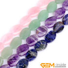 """18x25mm Natural Assorted Stones Oval Twist Beads For Jewelry Making Strand 15"""""""