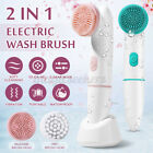 Rechargeable Electric 2 in 1 Facial Cleansing Brush Face Scrubber Deep Clean V