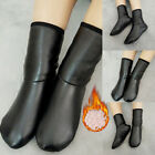 Unisex Winter Warm Faux Leather Thermal Boot Plush Lined House Non-Slip Socks
