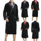 Men Warm Fleece Robe Microfiber Bathrobe Shawl Collar Long Spa Robe Sleepwear