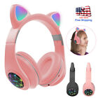 Bluetooth 5.0 Wireless Cat Ear Headsets LED Light w/Mic Headphones For Kid Girls