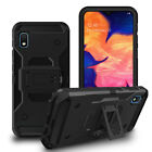 For Samsung Galaxy A10e Case, 3 in 1 Kickstand Cover + Tempered Glass Protector
