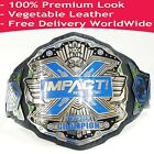 TNA Impact X Division Wrestling Champion Title Belt Dual Layer Blue Silver