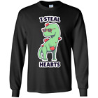 Unisex Dinosaur T-Rex Valentines Day Kids I Steal Hearts Gift Youth LS T-Shirt